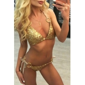 Lovely Sexy Lace-up Sequins Decoration Gold Polyes