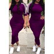 Lovely Sexy Round Neck Striped Purple Polyester Sh