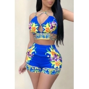 Lovely Sexy V Neck Lace-up Floral Printed Royalblue Blending Two-piece Shorts Set