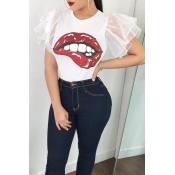 Lovely Fashion Round Neck Ruffle Sleeves Cartoon Printed White Polyester T-shirt