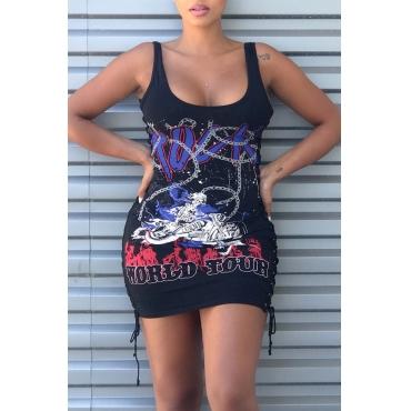 Lovely Sexy U Neck Sleeveless Lace-up Printing Black Polyester Sheath Mini Dress