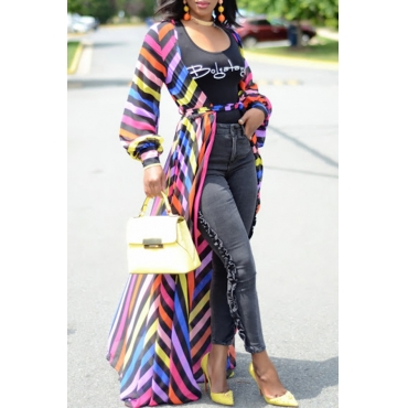 Lovely Trendy V Neck Non Positioning Striped Printed Chiffon Long Coat(With Belt)