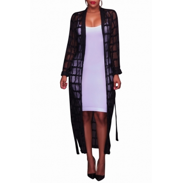 Lovely Fashion V Neck See-Through Black Polyester Long Coat(Without Subcoating)