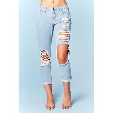 Lovely Fashion Mid Waist Broken Holes Baby Blue Denim Zipped Jeans