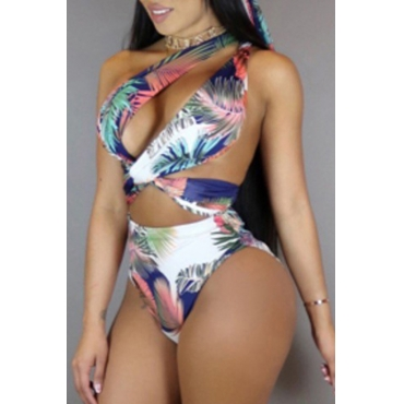 Lovely Sexy Printed Hollow-out White Two-piece Swi
