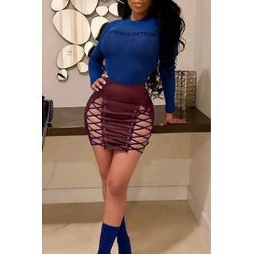 Lovely Chic Lace-up Hollow-out Wine Red Leather Sheath Mini Skirts