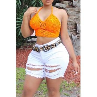Lovely Fashion High Waist Broken Holes White Denim Zipped Shorts