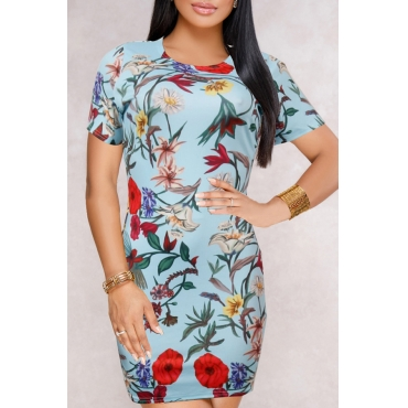 Lovely Vintage Round Neck Short Sleeves Non Positioning Printing Baby Blue Polyester Sheath Mini Dress