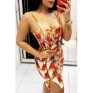 Lovely Sexy Spaghetti Strap Sleeveless Printing Orange Qmilch Two-piece Skirt Set