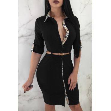 Lovely Euramerican Turndown Collar Patchwork Black Sheath Mini Dress(With Belt)