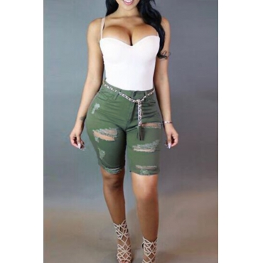 Lovely Fashion Mid Waist Broken Holes Army Green Denim Zipped Shorts(Kind Prevail)