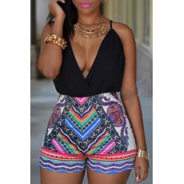 Lovely Sexy Deep V Neck Backless Printing Black Cotton Blends One-piece Short Jumpsuits