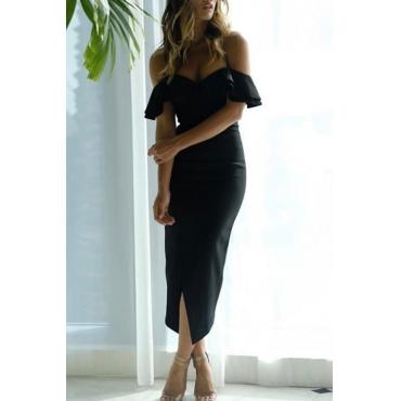 Lovely Sexy V Neck Flounce Slit Hem Black Polyester Mid Calf Dress