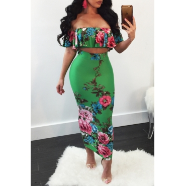 Lovely Sexy Bateau Neck Floral Printed Flounce Green Polyester Two-Piece Skirt Set