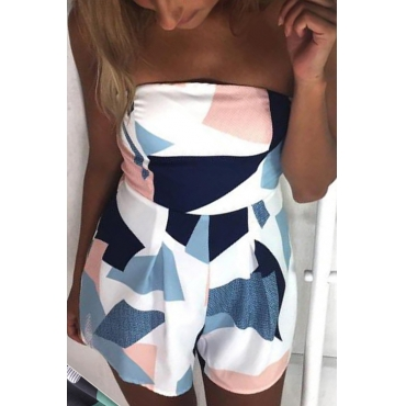 Lovely Sexy Bateau Neck Geometric Printed White Polyester One-piece Short Jumpsuits