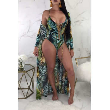 Lovely Sexy Lace-up Leaf Printed Green Polyester One-piece Swimwears(With Cover-up)