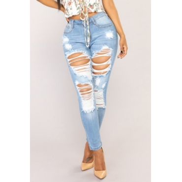 Lovely Fashion Mid Waist Broken Holes Baby Blue Denim Zipped Jeans