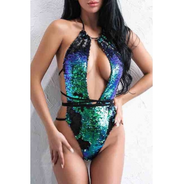 Lovely Sexy Backless Lace-up Sequins Green Polyester One-piece Swimwears