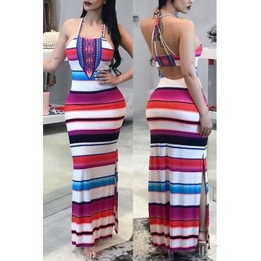 Lovely Sexy U neck Striped Patchwork Cotton Blend Floor length Dress