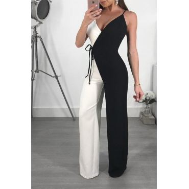 Lovely Euramerican Spaghetti Strap Black-white Patchwork Polyester One-piece Jumpsuits