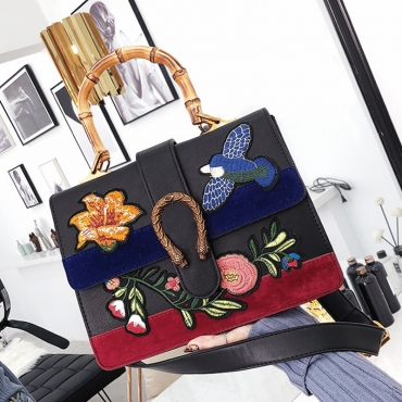 Lovely Vintage Floral Embroidered Design Black PU Clutches Bags