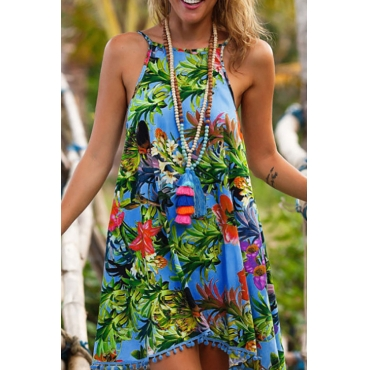 Lovely Casual Spaghetti Strap Sleeveless Backless Printing Blue Polyester Mini Dress(Without Necklace)