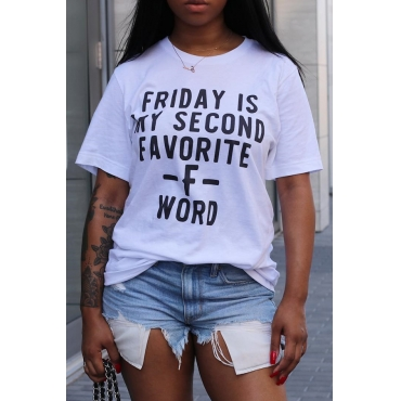 LovelyCasual Round Neck Letter Printed White Polyester T-shirt
