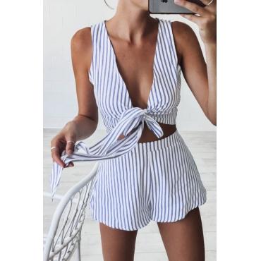 Lovely Sexy V Neck Striped Knot Blue Polyester Two-piece Shorts Set