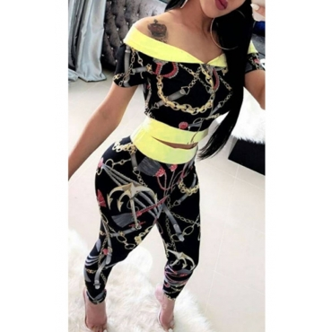 Lovely Sexy Dew Shoulder Printing Zipper Design Black Polyester Two-Piece Pants Set