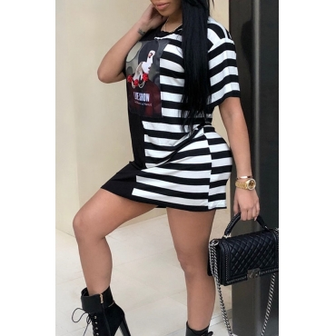 Lovely Casual Round Neck Striped Portrait Printed Black Polyester Mini Dress