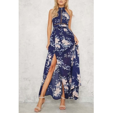 Lovely Fashion Round Neck Backless Bow Non Positioning Floral Printed Royalblue Chiffon Ankle Length Dress