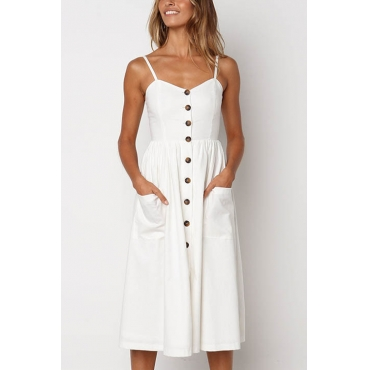 Lovely Fashion Spaghetti Strap Sleeveless Single Breasted White Blending Mid Calf Dress