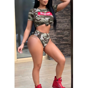 LovelySexy Round Neck Camouflage Printed Polyester Two-piece Swimwears
