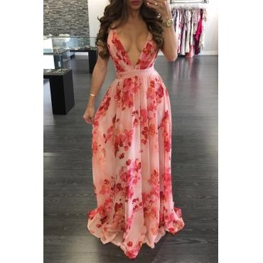 Lovely Sexy V Neck Printed Pink Chiffon Floor length Dress