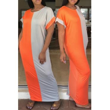 Lovely Fashion Round Neck Orange+Grey Patchwork Cotton Floor Length Dress