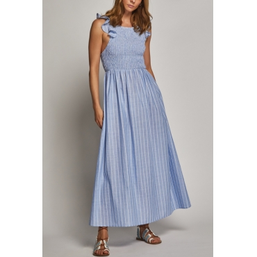 Lovely Cute Round Neck Striped Blue Cotton Ankle Length Dress