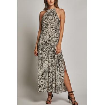 Lovely Trendy Square Spaghetti Strap Sleeveless Leopard Blending Ankle Length Dress
