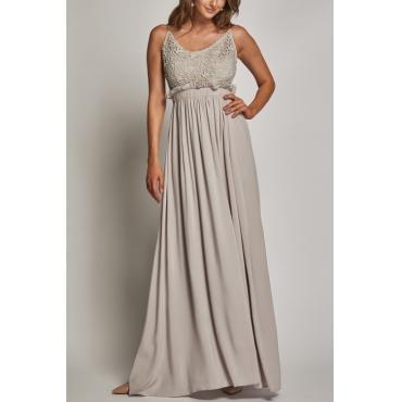 Lovely Cotton Fashion O neck Spaghetti Strap Sleeveless Waist skirt Floor length Dresses