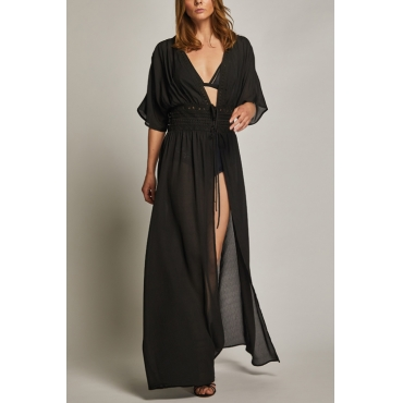 Lovely Chic V Neck Lace-up Black Polyester Cover-Ups