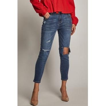 Lovely Trendy High Waist Broken Holes Blue Spandex Zipped Jeans