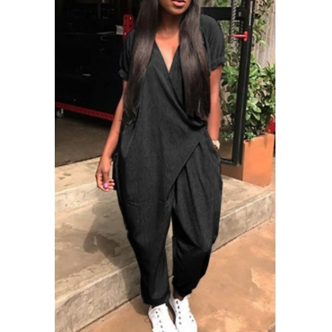 Lovely Chic V Neck Short Sleeves Black Polyester One-piece Jumpsuits