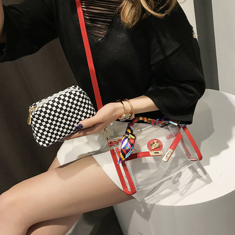 Lovely Vintage Plaid Printed Red PU Clutches Bags
