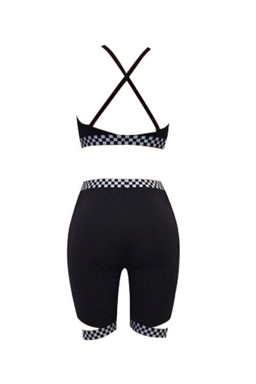 LovelySexy V Neck Plaids Printed Black Polyester Two-piece Shorts Set