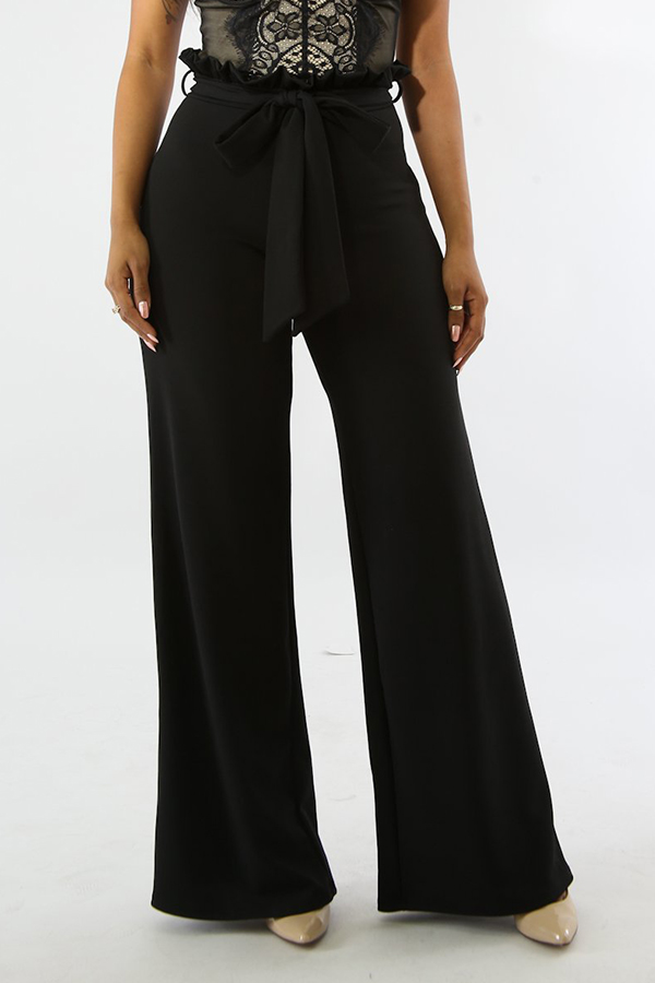 Lovely Trendy Mid Waist Black Cotton Blends Zipped Pants(With Belt)
