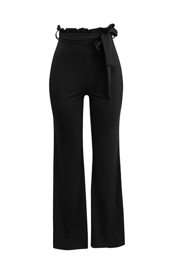 Grazioso Pantaloni A Vita Media In Misto Cotone Nero Alla Moda Alla Moda (con Cintura)
