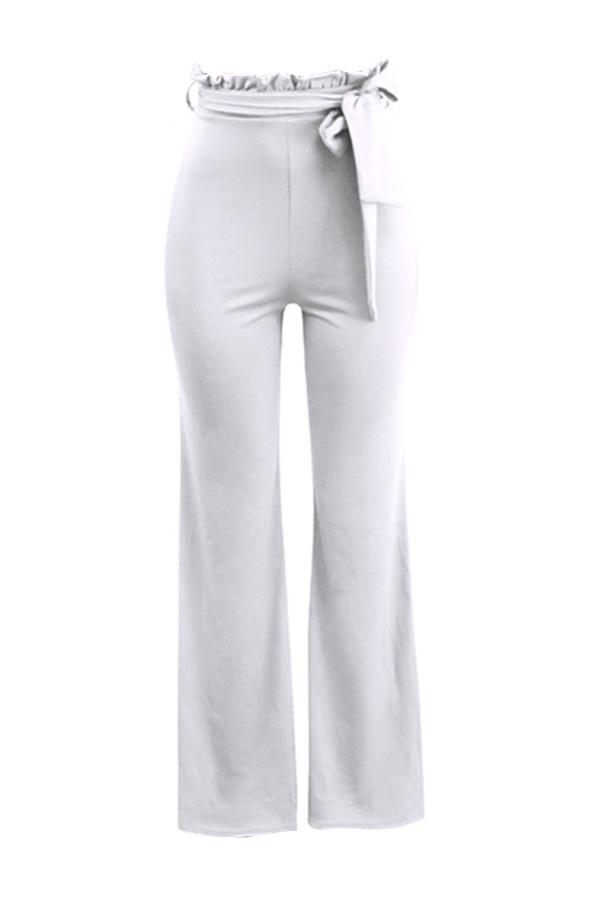 Grazioso Pantaloni A Vita Bassa In Misto Cotone Bianco Alla Moda A Metà Vita (con Cintura)