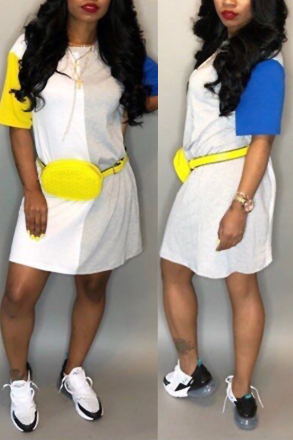 LovelyLeisure Round Neck Patchwork Yellow Blending Mini Dress