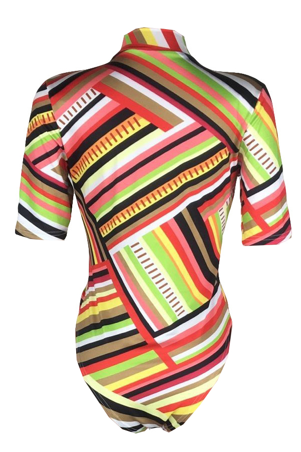 Lovely Fashion V Neck Striped Printed Polyester One-piece Swimwears
