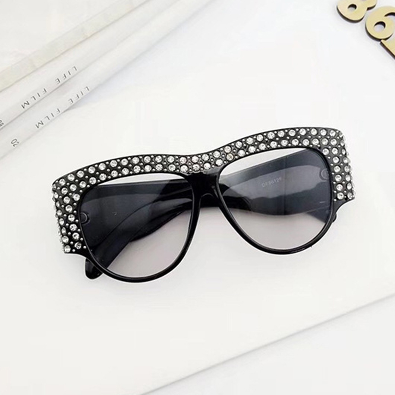 Lovely Trendy Diamante Decorative Black PC Sunglasses