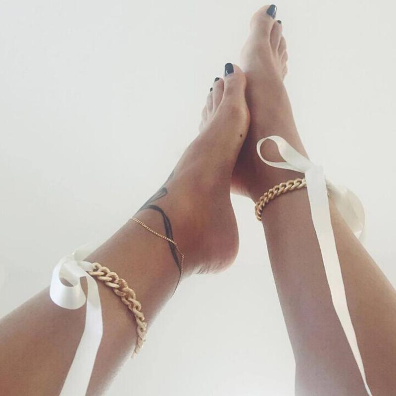 Cadena De Cuerpo De Metal Blanco De Cinta De Seda De Moda Encantadora